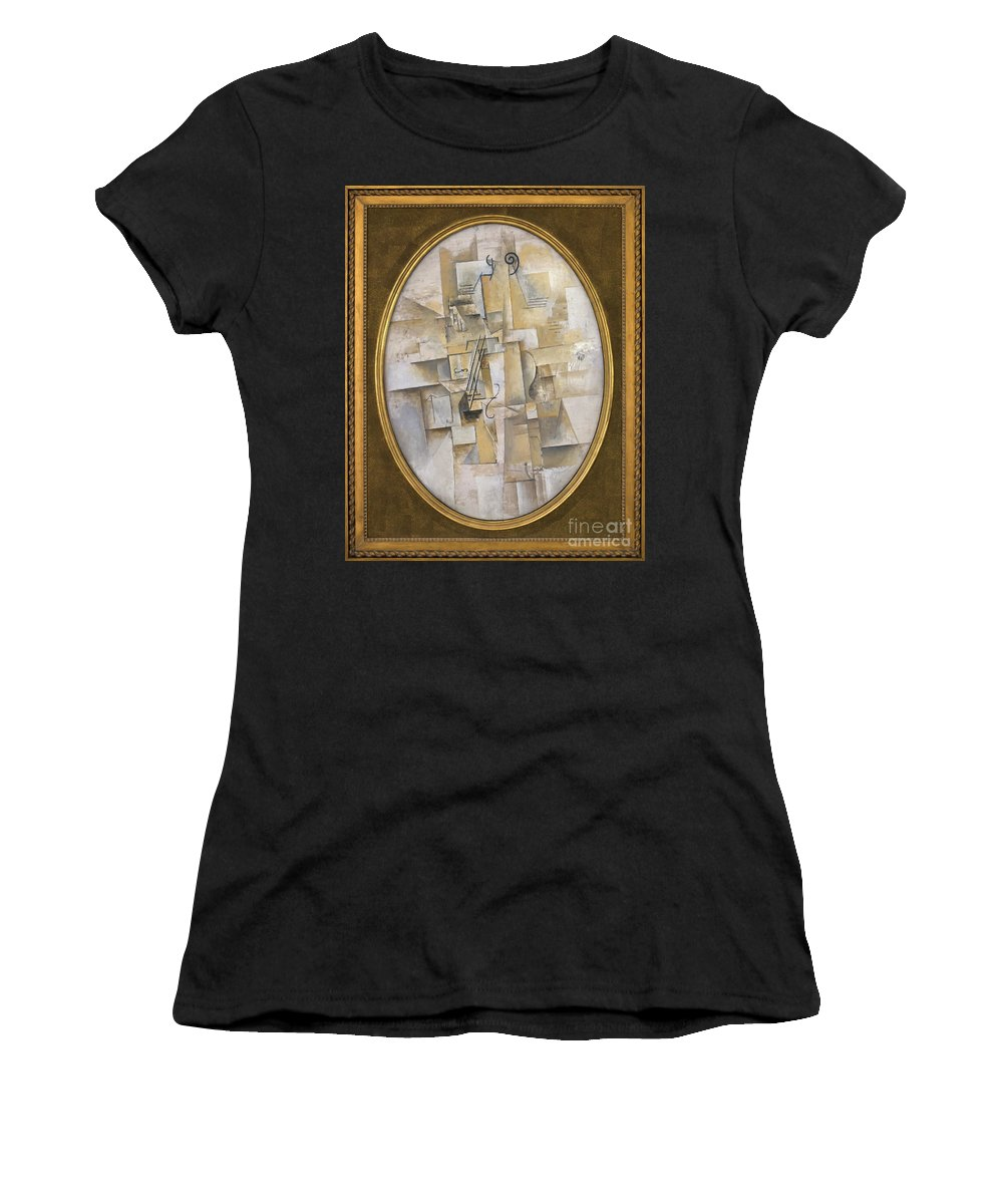 1911-1912 Women's T-Shirt (Athletic Fit) featuring the photograph Violin, By Pablo Picasso, 1911-1912, Kroller-muller Museum, Hoge by Peter Barritt