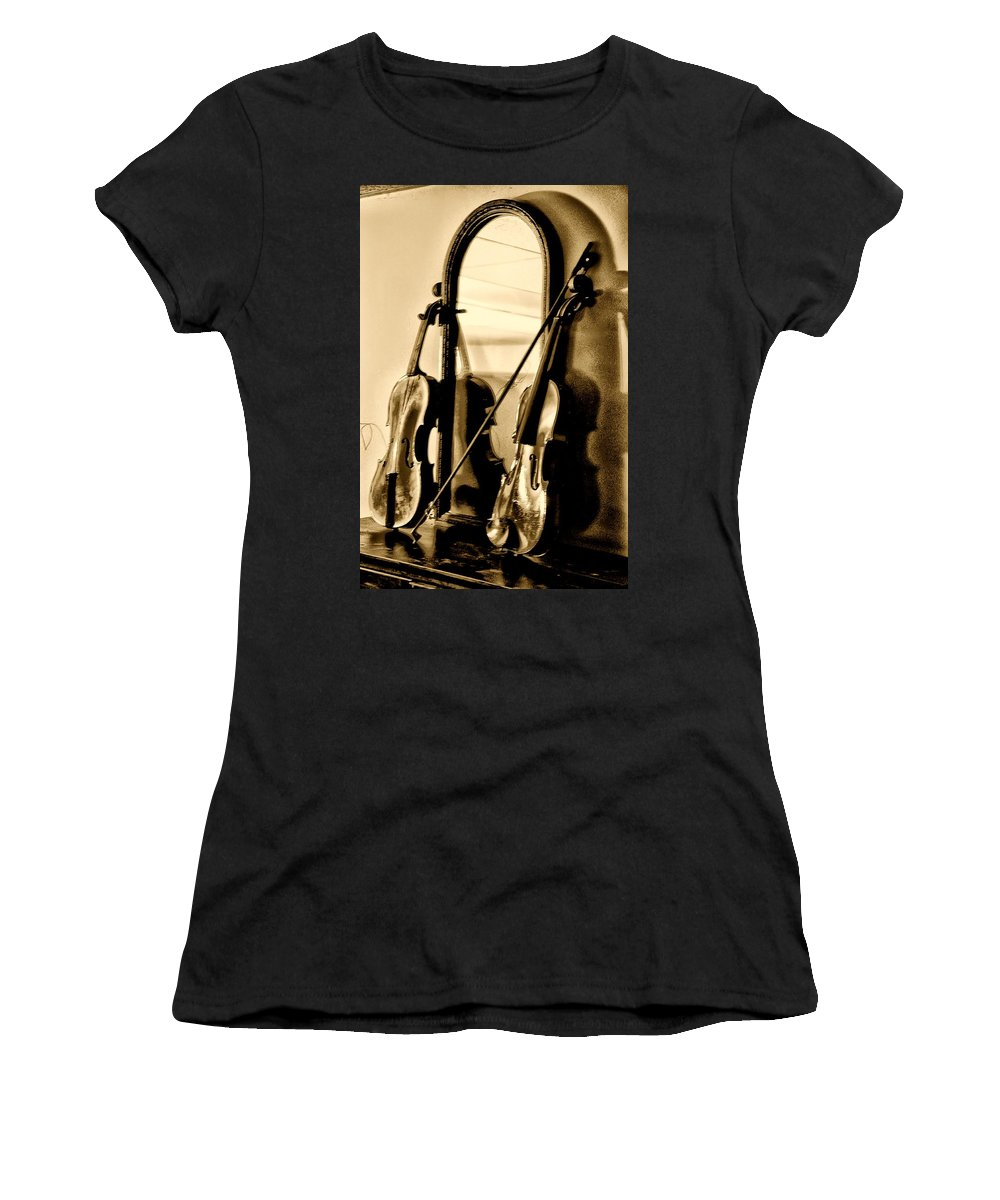 Violin Women's T-Shirt (Athletic Fit) featuring the photograph Violins by Bill Cannon