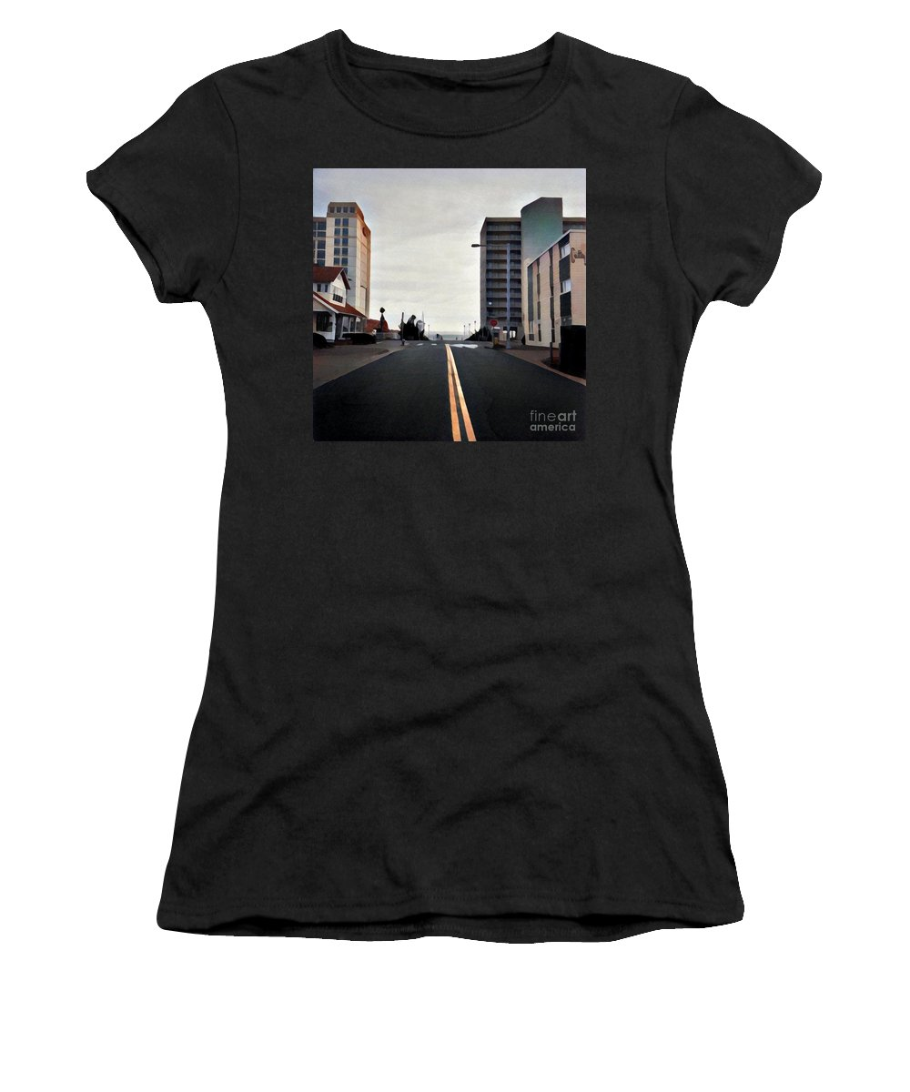 Virginia Beach Women's T-Shirt (Athletic Fit) featuring the digital art Virginia Beach by Ed Spangenberg