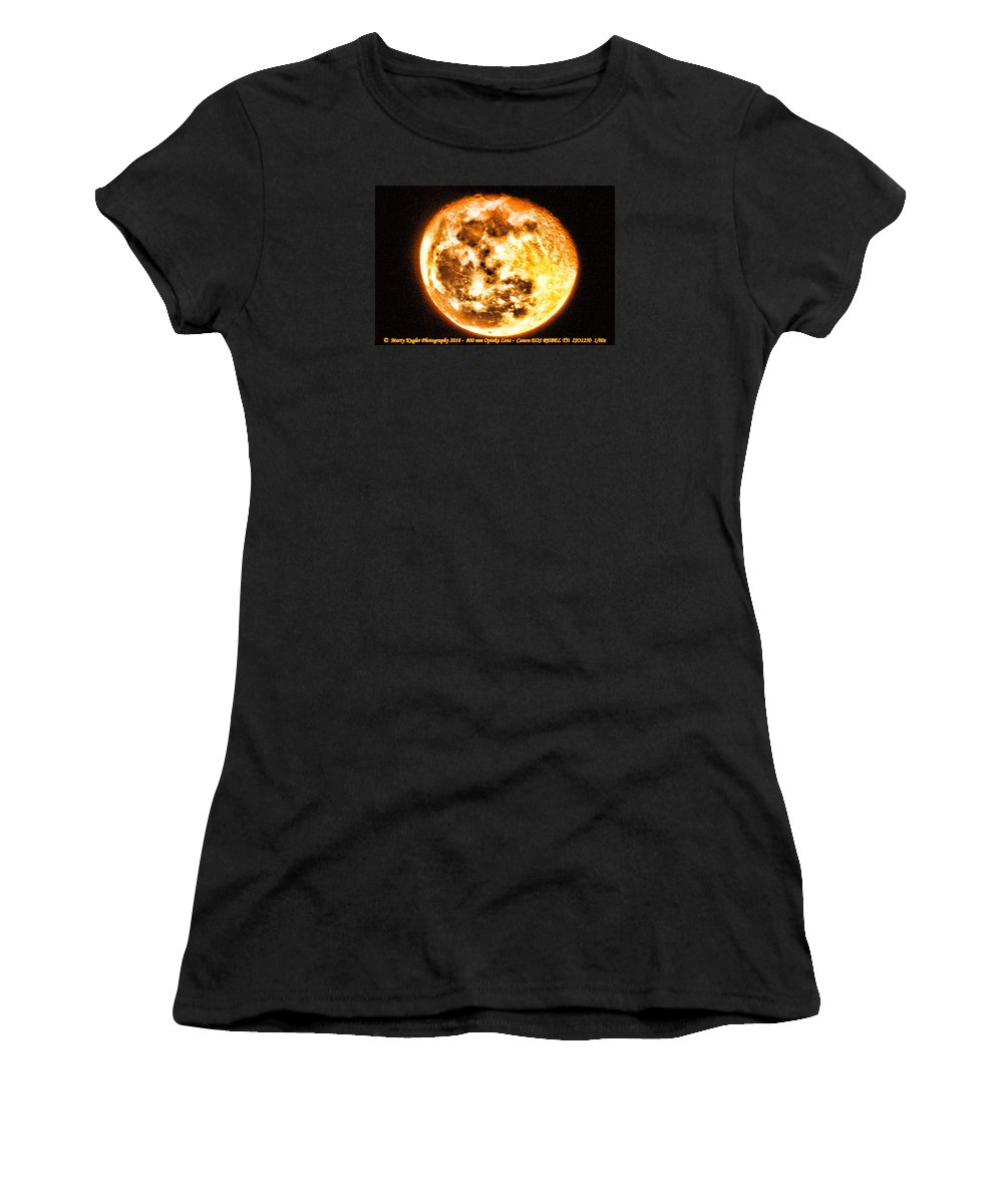 Moon Women's T-Shirt (Athletic Fit) featuring the photograph Vivid Full Moon by Marty Kugler
