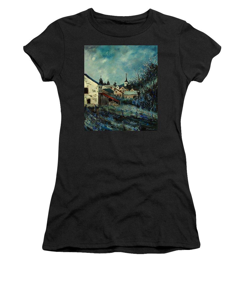 Village Women's T-Shirt featuring the painting Vivy Bouillon by Pol Ledent