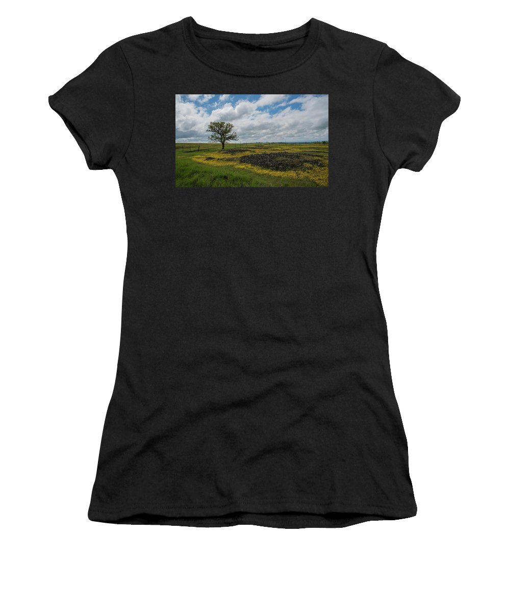 Table Mountain Women's T-Shirt (Athletic Fit) featuring the photograph Volcanic Blooms by Barbara Matthews