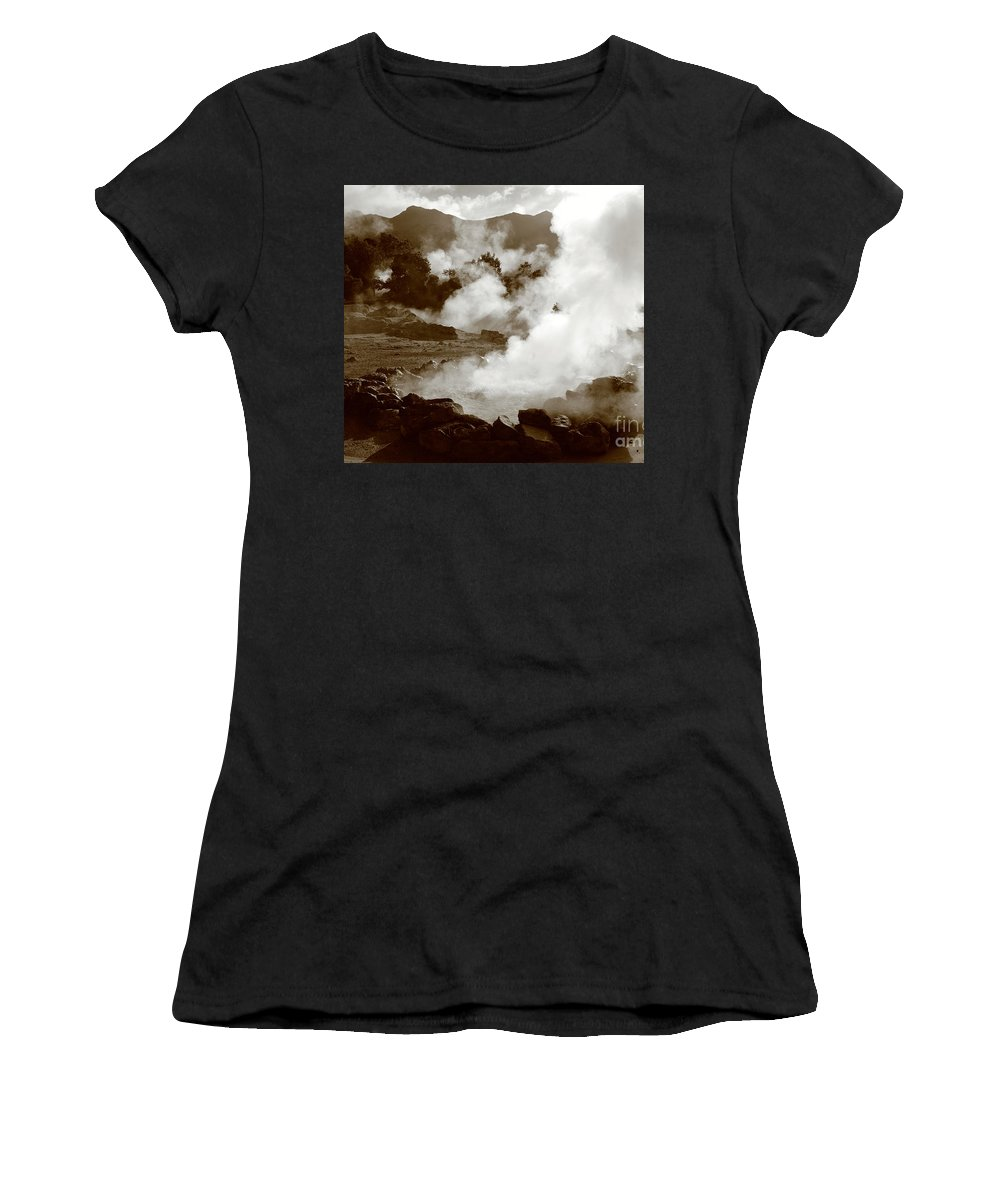 Azores Women's T-Shirt (Athletic Fit) featuring the photograph Volcanic Steam by Gaspar Avila