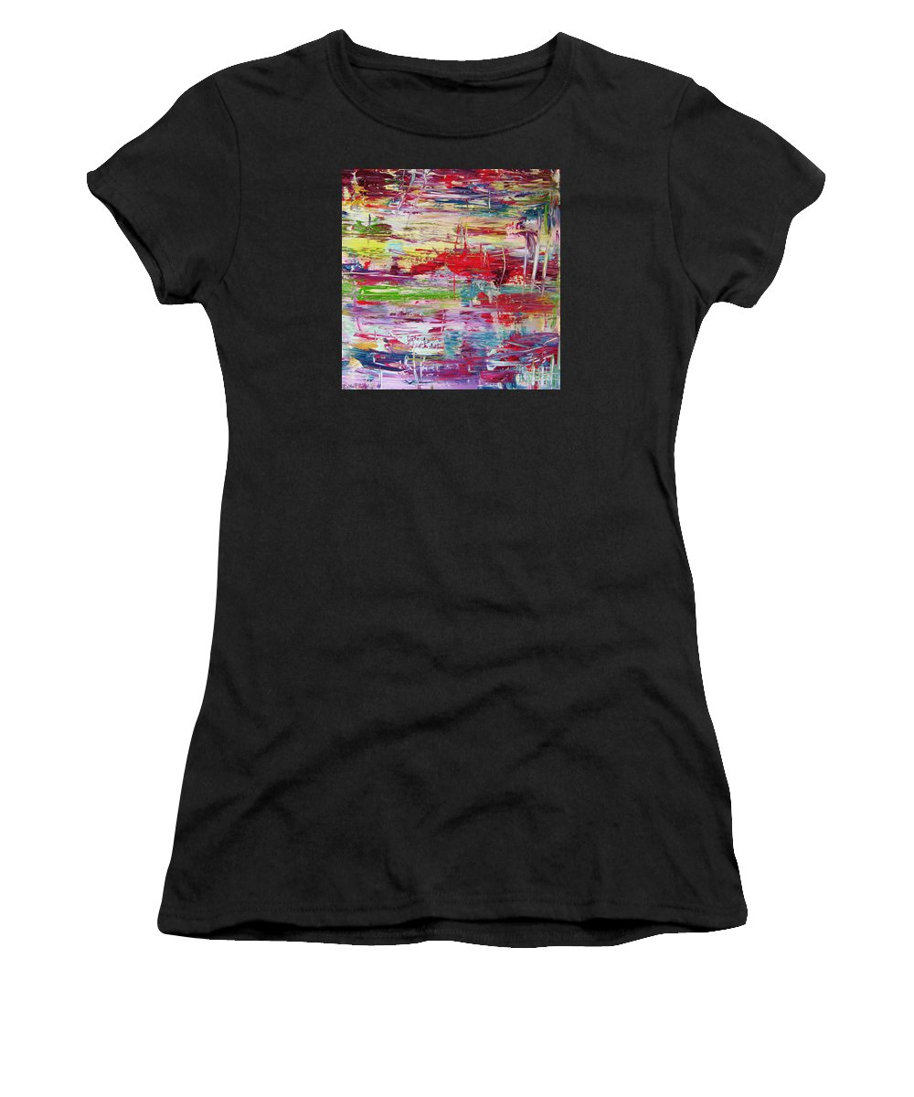 Abstract Painting Women's T-Shirt (Athletic Fit) featuring the painting W66 - Goodbye Yesterday by Kunst mit Herz Art with Heart