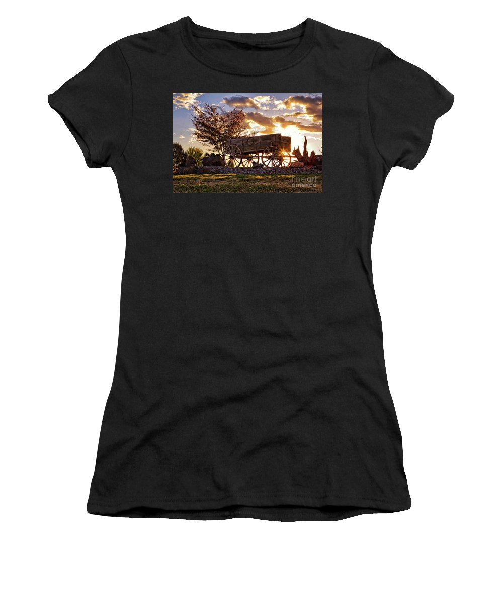 Western Women's T-Shirt (Athletic Fit) featuring the photograph Wagon Hdr by Karen Goodwin