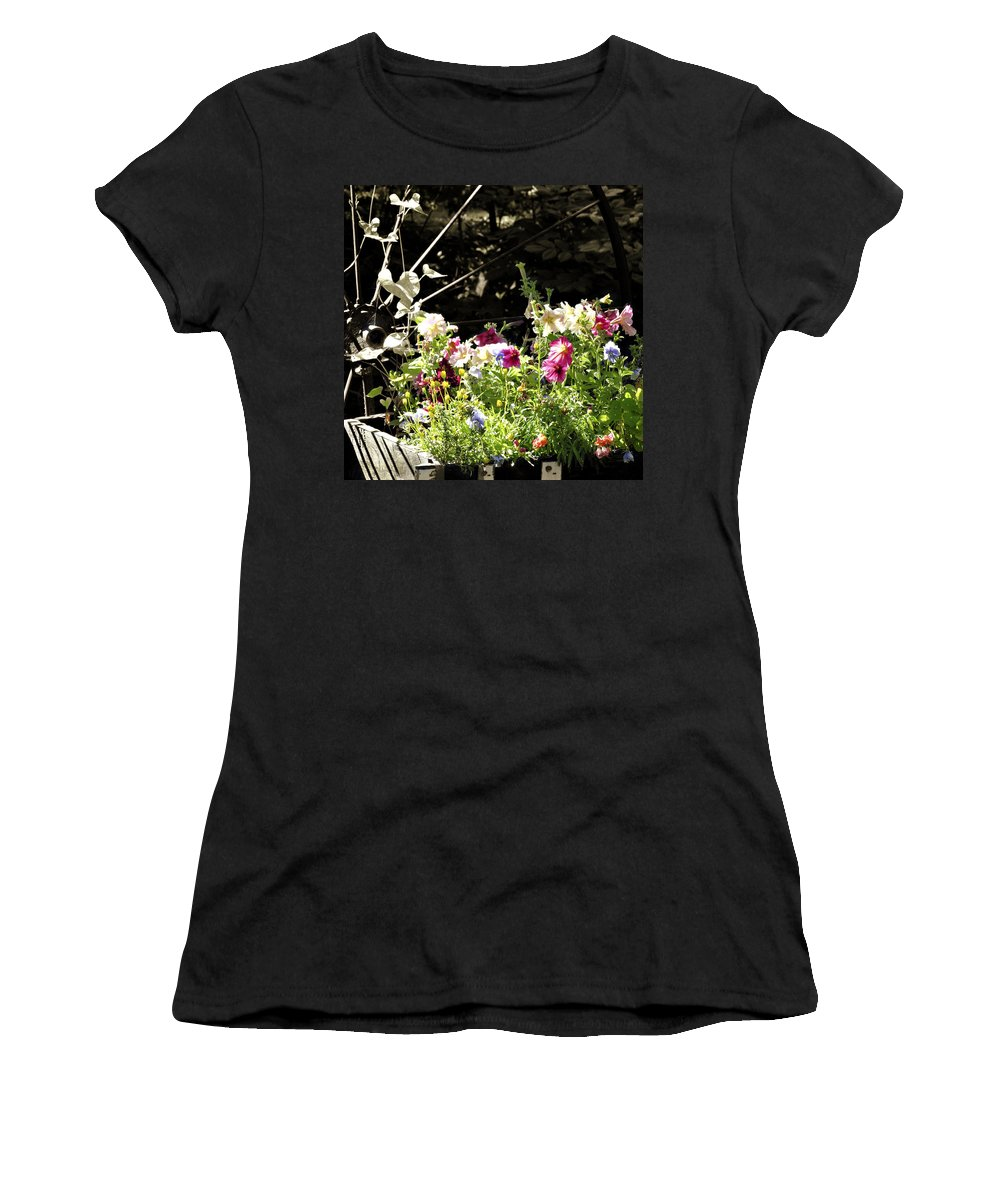 Wagon Wheel Women's T-Shirt (Athletic Fit) featuring the photograph Wagon Wheel And Flowers by Marilyn Hunt