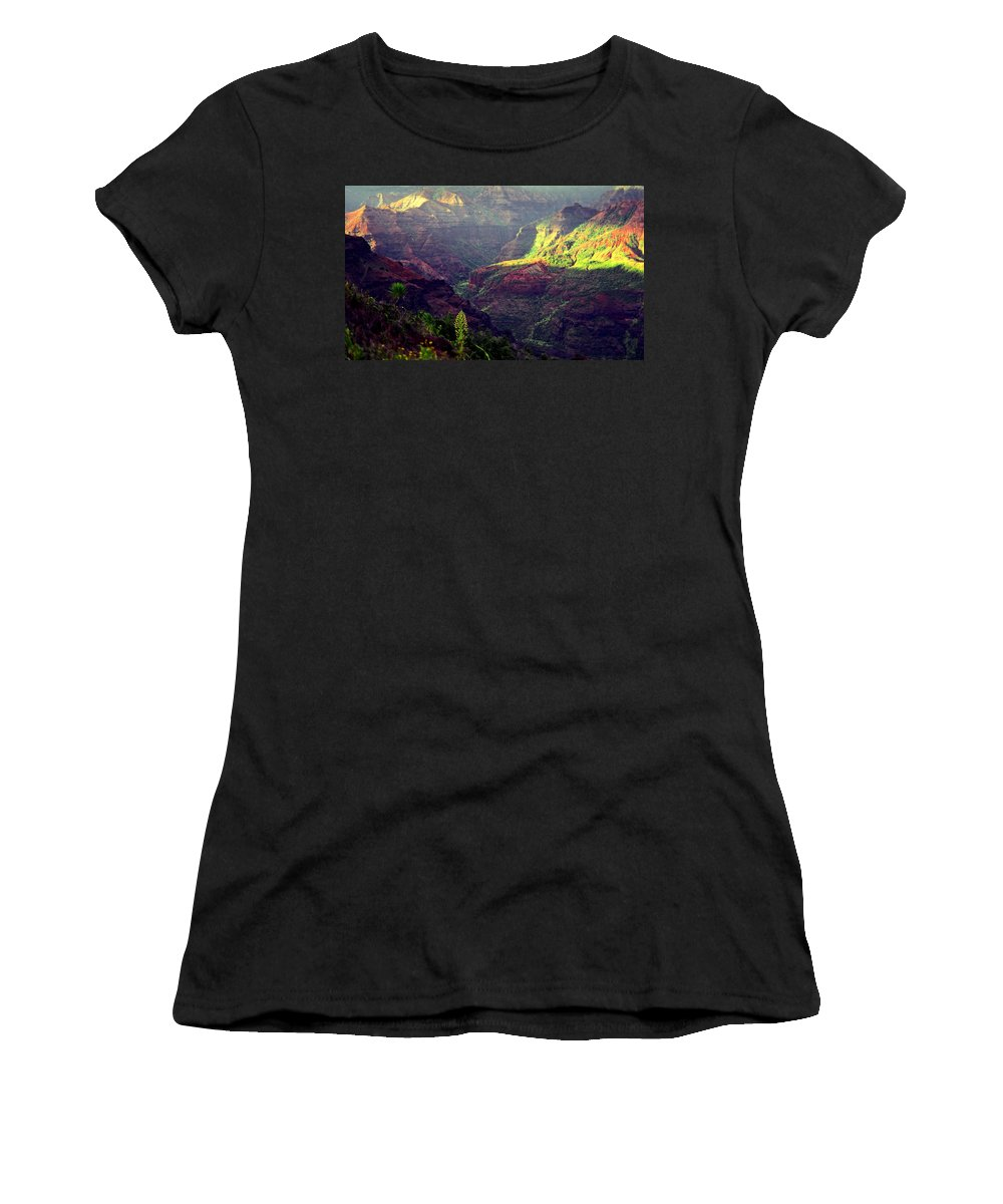 Waimea Canyon Women's T-Shirt (Athletic Fit) featuring the photograph Waimea Canyon by Kevin Smith