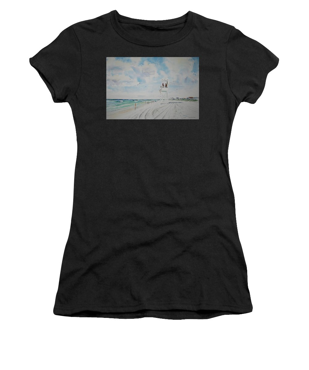 Ocean Women's T-Shirt (Athletic Fit) featuring the painting Waiting For The Lifeguard by Tom Harris