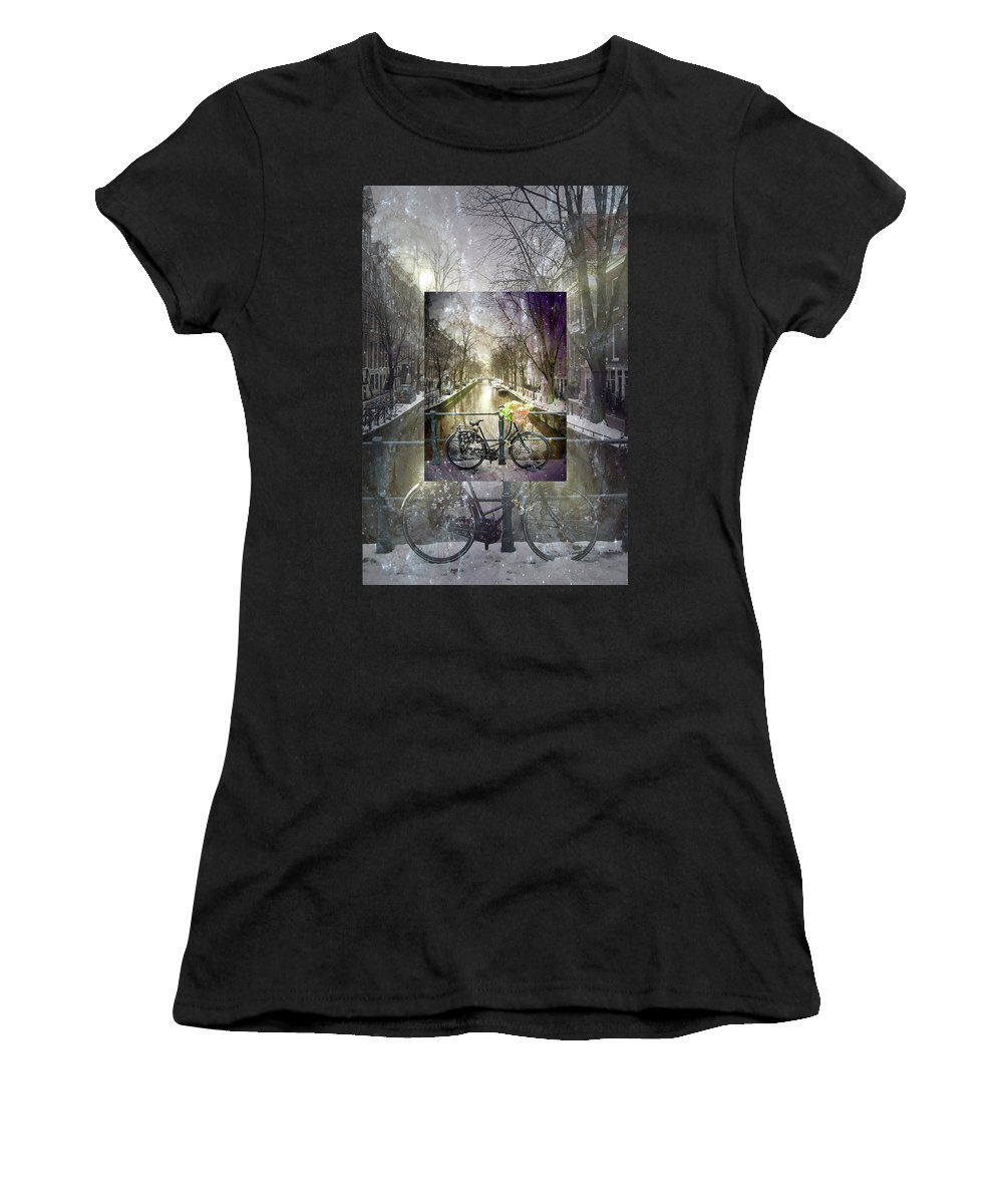 Clouds Women's T-Shirt (Athletic Fit) featuring the photograph Waiting In The Snow by Debra and Dave Vanderlaan