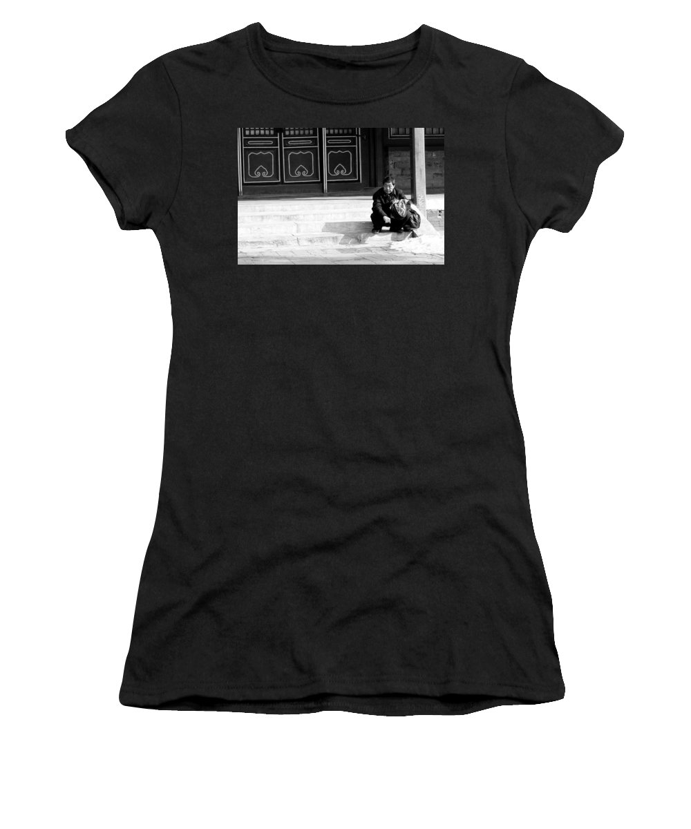 China Women's T-Shirt (Athletic Fit) featuring the photograph Waiting by Sebastian Musial