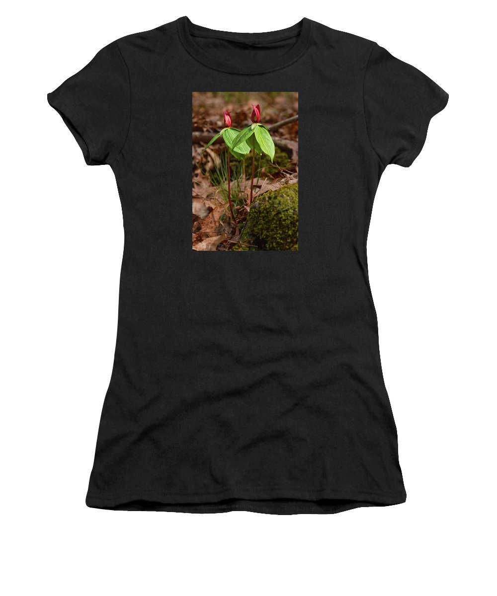 Wildflower Women's T-Shirt (Athletic Fit) featuring the photograph Wake Robin Trillium by Grant Groberg