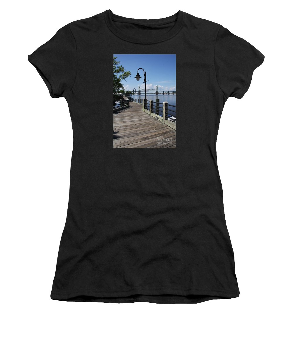 River Women's T-Shirt featuring the photograph Walk Along The Fear River - Wilmington by Christiane Schulze Art And Photography
