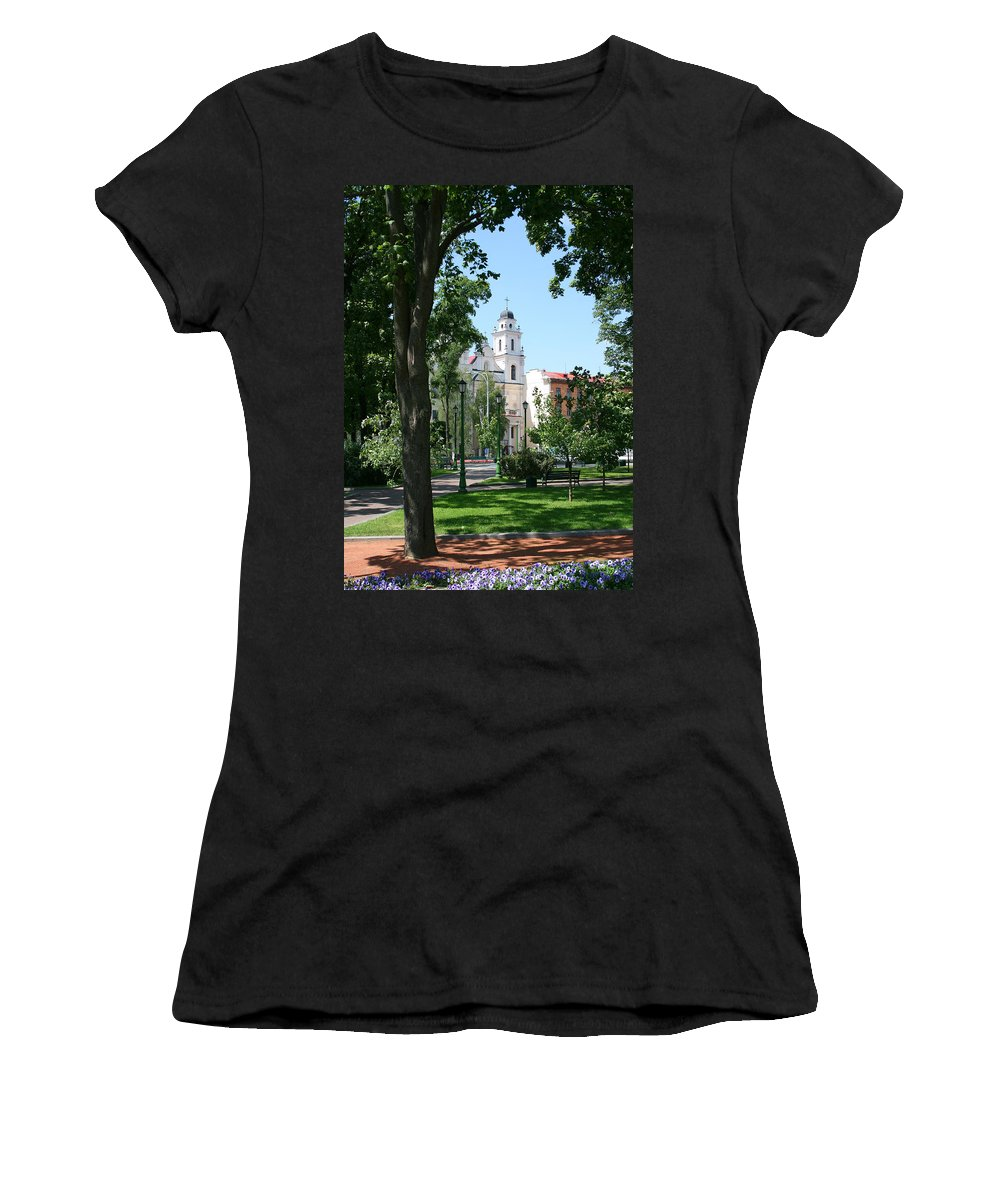 Park City Tree Trees Flowers Church Building Summer Blue Sky Green Walk Bench Women's T-Shirt (Athletic Fit) featuring the photograph Walk In The Park by Andrei Shliakhau