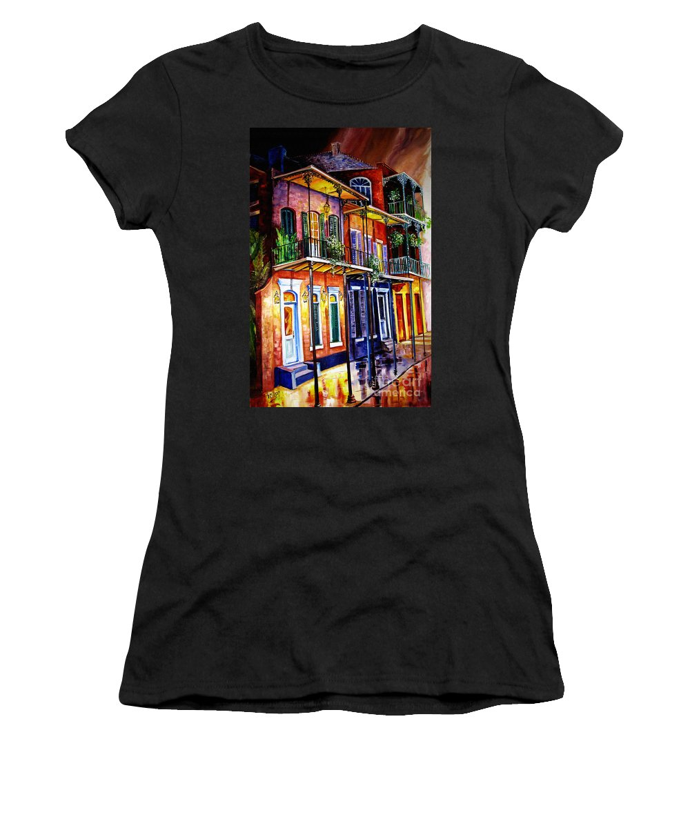 New Orleans Paintings Women's T-Shirt (Athletic Fit) featuring the painting Walk Into The French Quarter by Diane Millsap