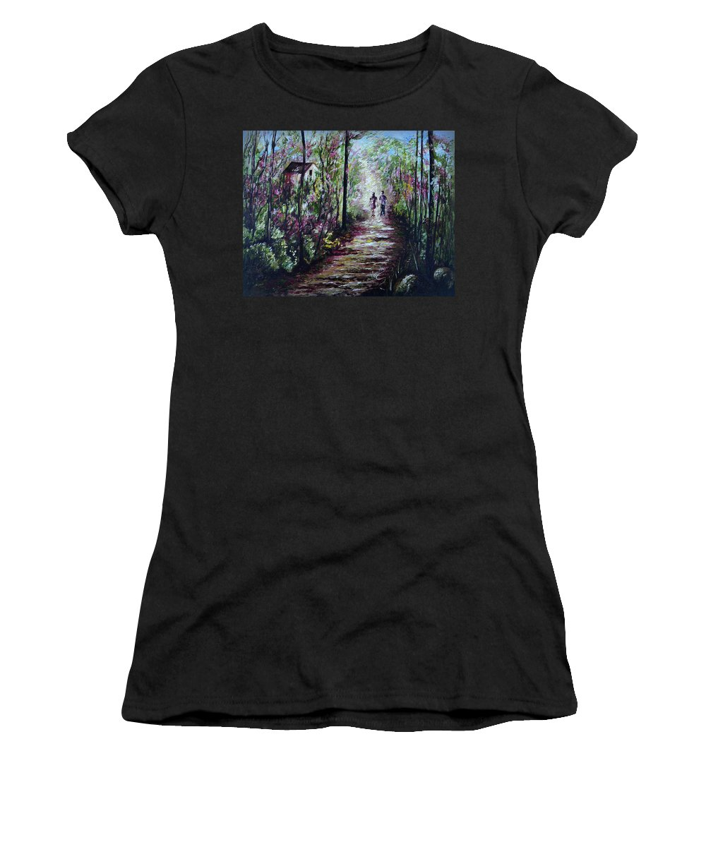 Landscape Women's T-Shirt (Athletic Fit) featuring the painting Walking In The Light by Harsh Malik