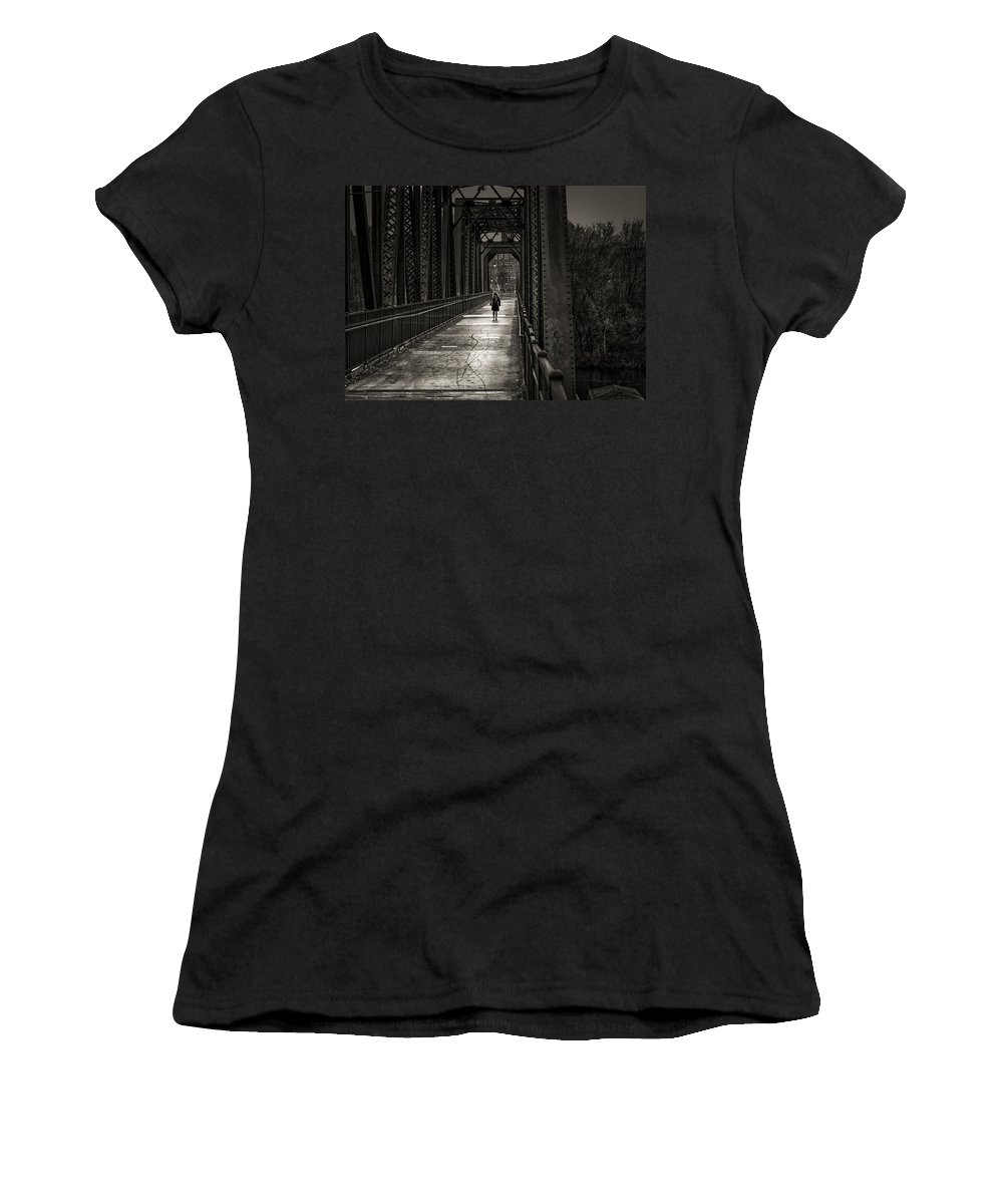 Woman Women's T-Shirt (Athletic Fit) featuring the photograph Walking In The Rain by Bob Orsillo