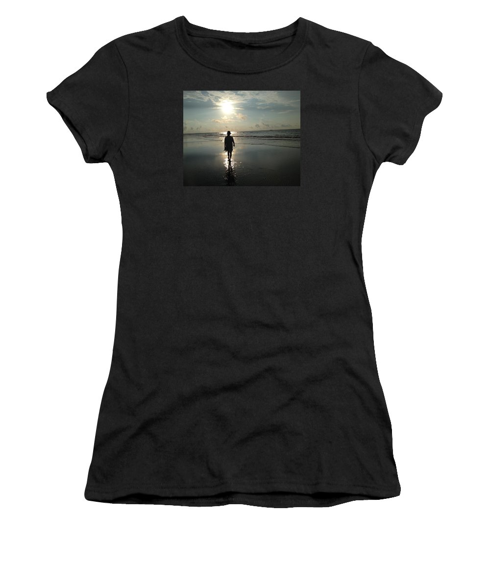 Walking Women's T-Shirt (Athletic Fit) featuring the photograph Walking Into The Sunrise by Carol Anne Dillon