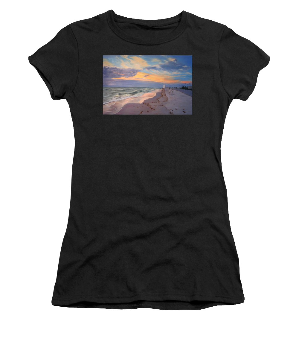 Seascape Women's T-Shirt featuring the painting Walking On The Beach At Sunset by Lea Novak
