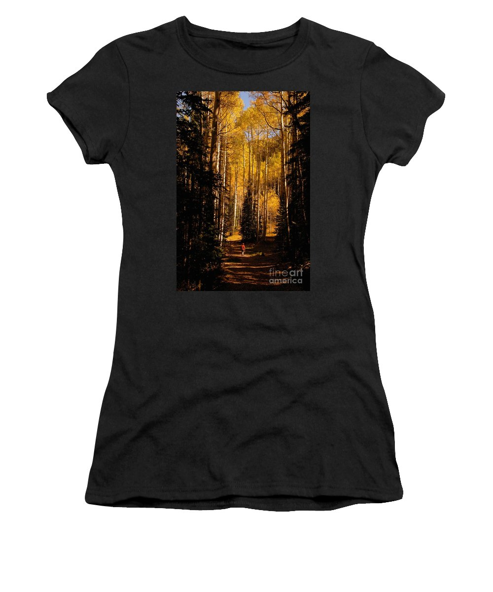 Landscape Women's T-Shirt (Athletic Fit) featuring the photograph Walking With Aspens by David Lee Thompson