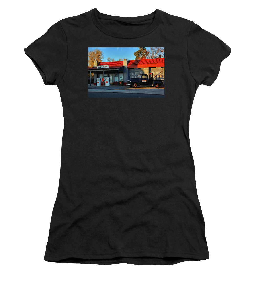 Wally's Service Station Women's T-Shirt featuring the photograph Wallys Service Station by Ben Prepelka