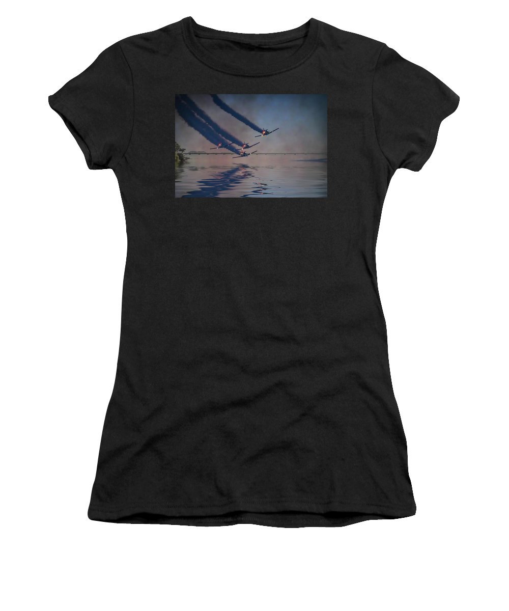 Air Shows Women's T-Shirt featuring the photograph Warbirds On Mission by Carl Clay