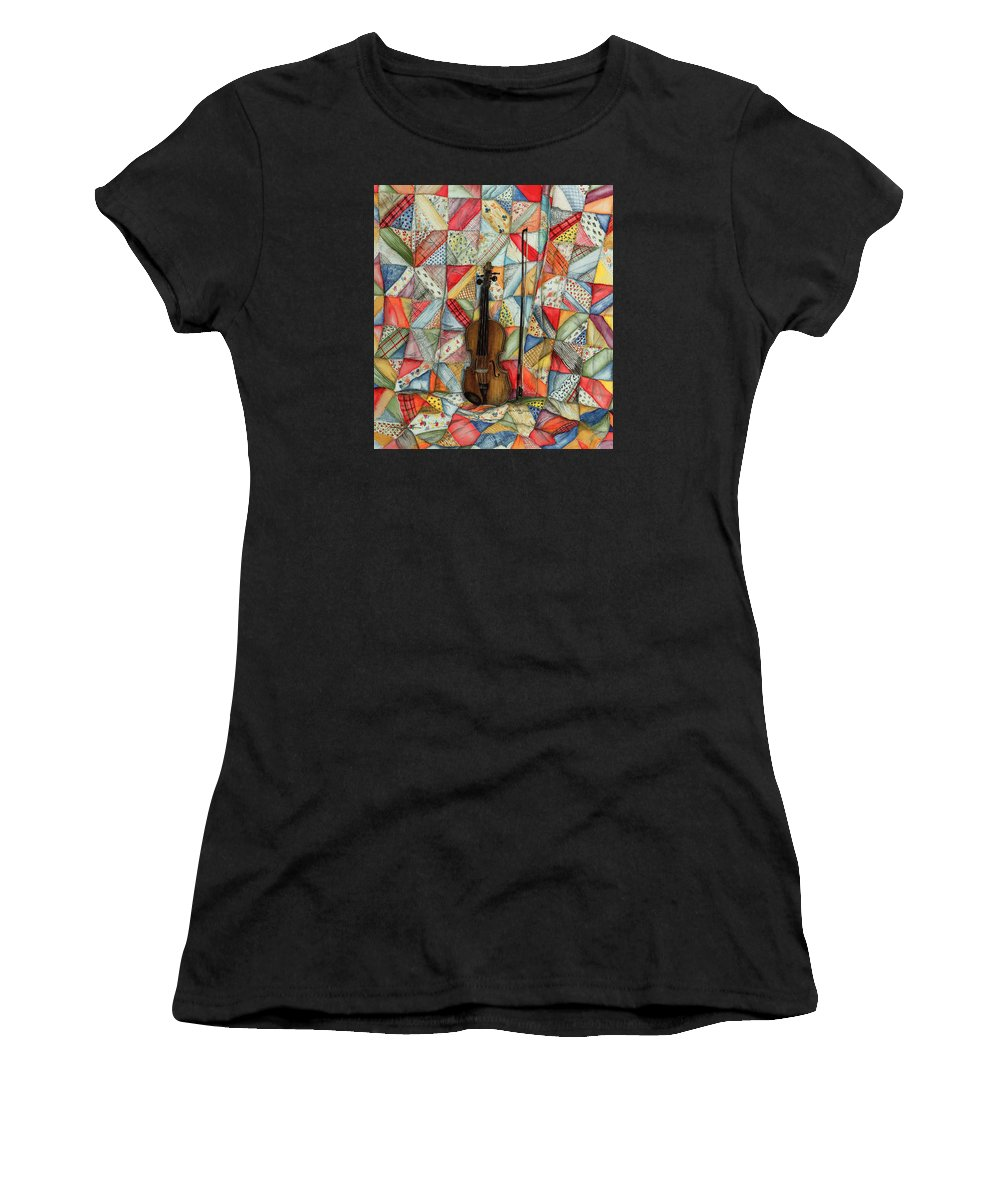 Fiddle On Quilt Women's T-Shirt (Athletic Fit) featuring the painting Warm Melodies by Robin Martin Parrish