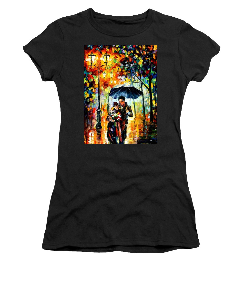 Afremov Women's T-Shirt (Athletic Fit) featuring the painting Warm Night by Leonid Afremov