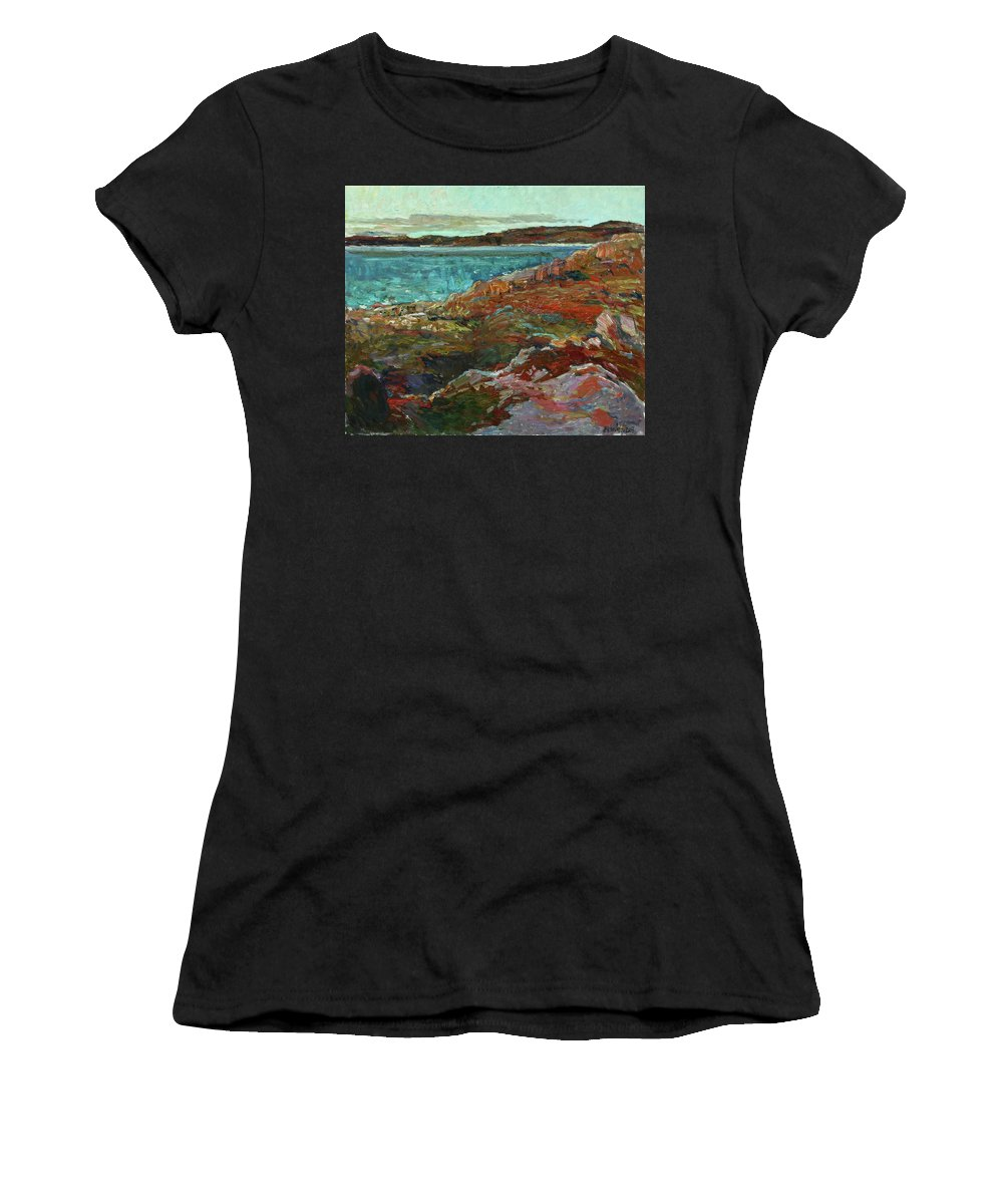 Plein Air Women's T-Shirt (Athletic Fit) featuring the painting Warm Tundra by Juliya Zhukova