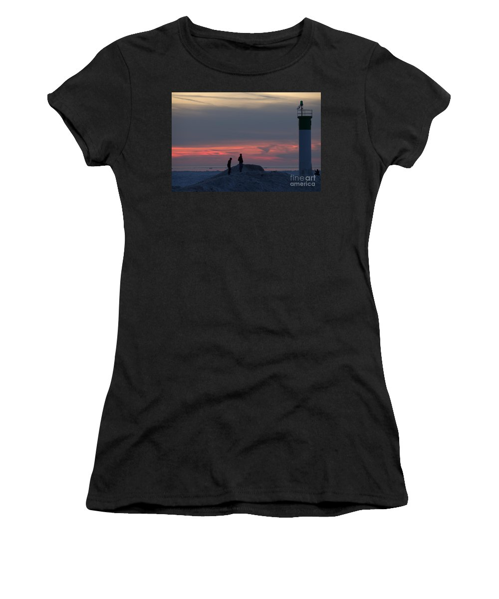Grand Bend Women's T-Shirt (Athletic Fit) featuring the photograph Warming Up 10 by John Scatcherd