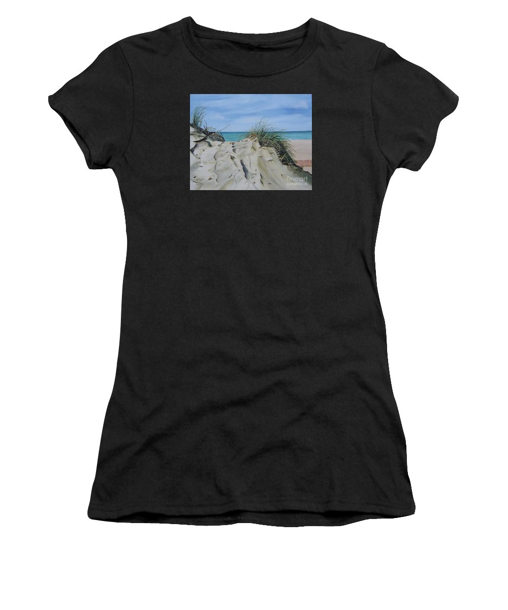 Lake Women's T-Shirt (Athletic Fit) featuring the painting Warren Dunes by Mary Rogers