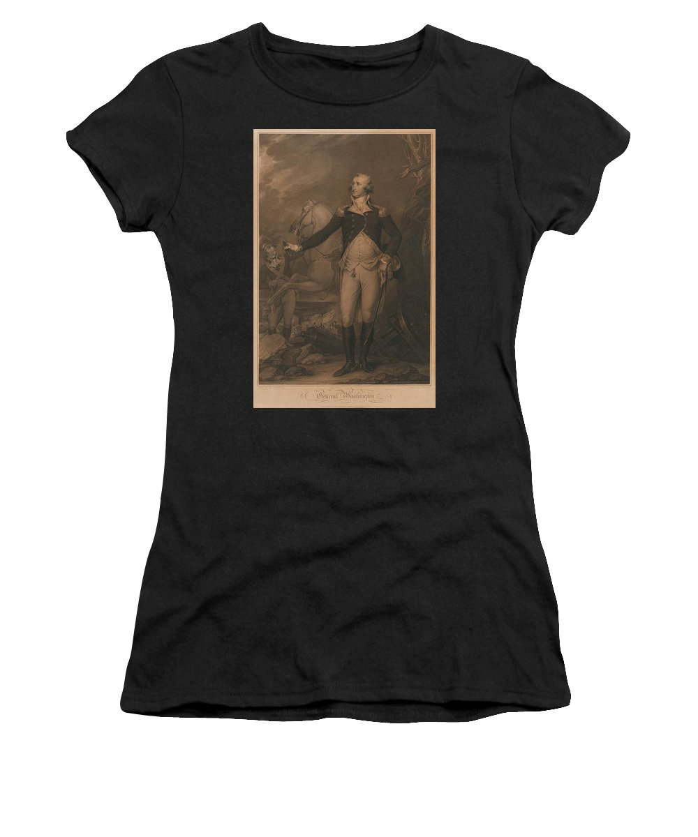 John Trumbull (after) General Washington (hart 104) Women's T-Shirt (Athletic Fit) featuring the painting Washington by MotionAge Designs