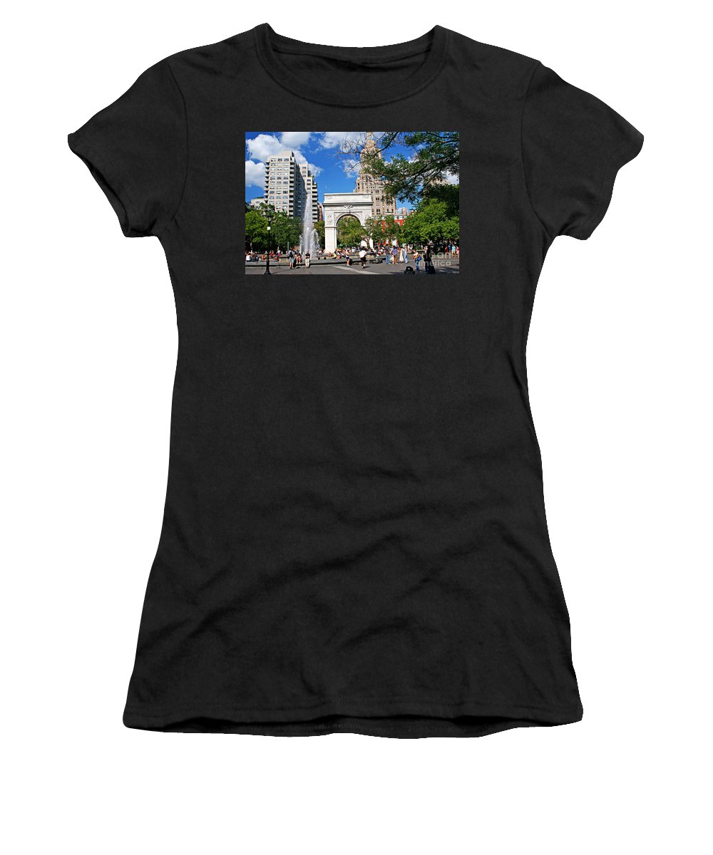 Washington Women's T-Shirt (Athletic Fit) featuring the photograph Washingtone Square New York by Zal Latzkovich