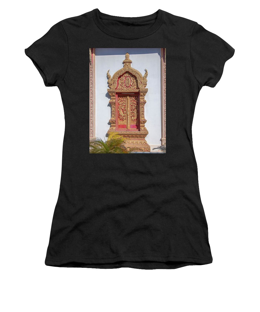 Scenic Women's T-Shirt (Athletic Fit) featuring the photograph Wat Buppharam Phra Wihan Window Dthcm1581 by Gerry Gantt