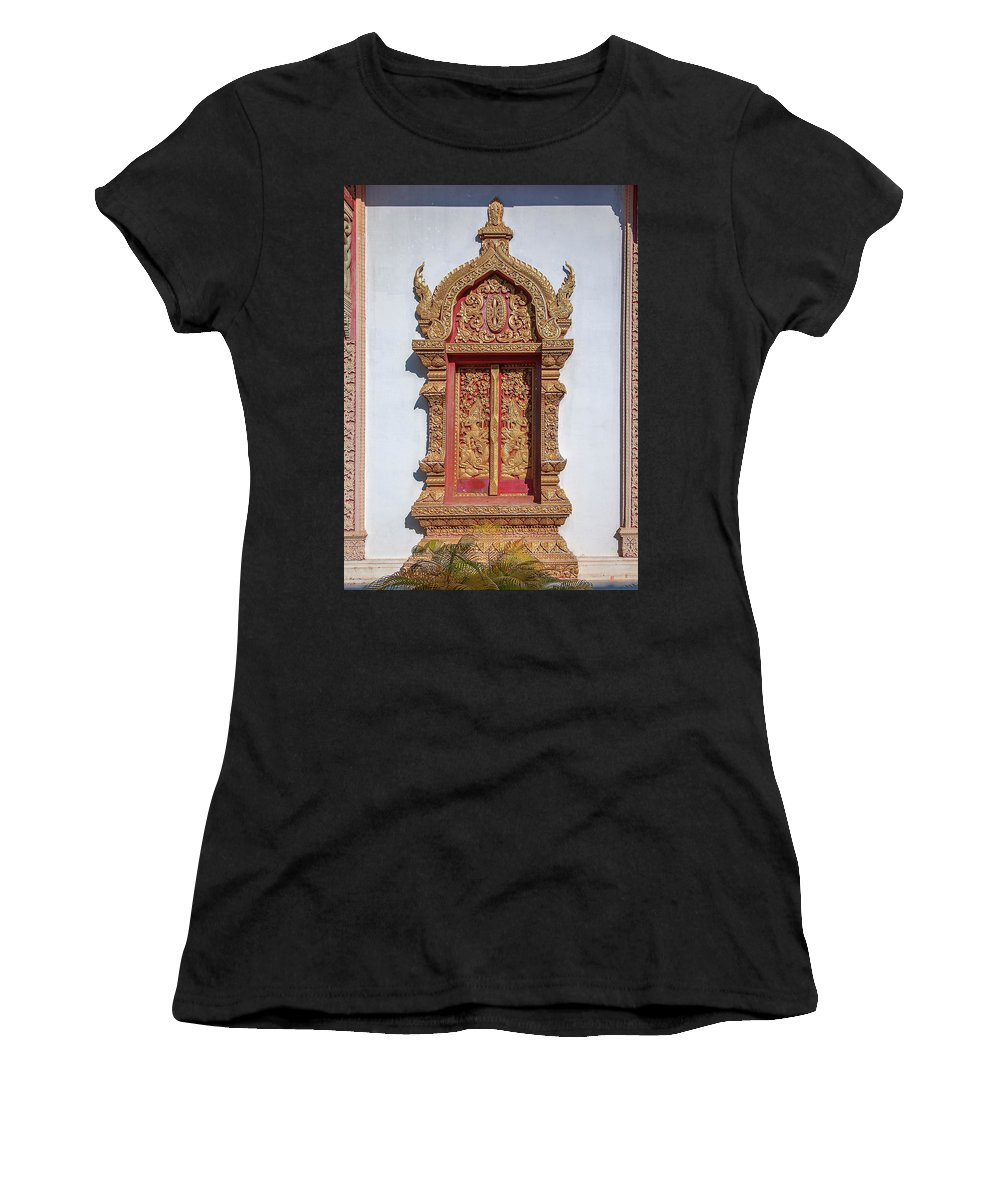 Scenic Women's T-Shirt (Athletic Fit) featuring the photograph Wat Buppharam Phra Wihan Window Dthcm1582 by Gerry Gantt