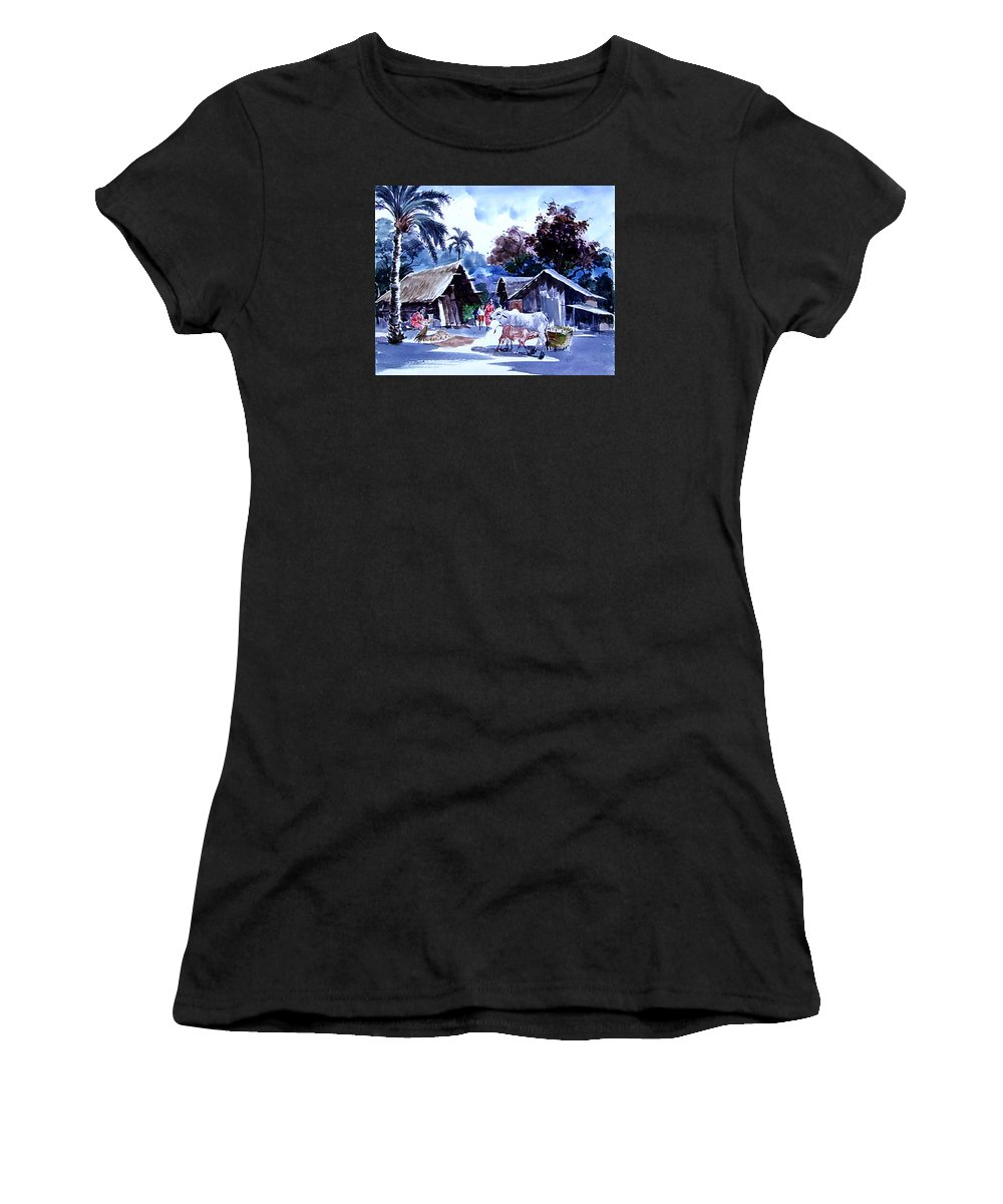Water Color Village Women's T-Shirt (Athletic Fit) featuring the painting Watar Color Village by Golam Kibria