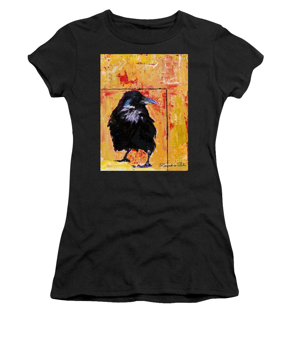 Large Decorative Fine Art Prints Women's T-Shirt (Athletic Fit) featuring the painting Watch And Learn by Pat Saunders-White