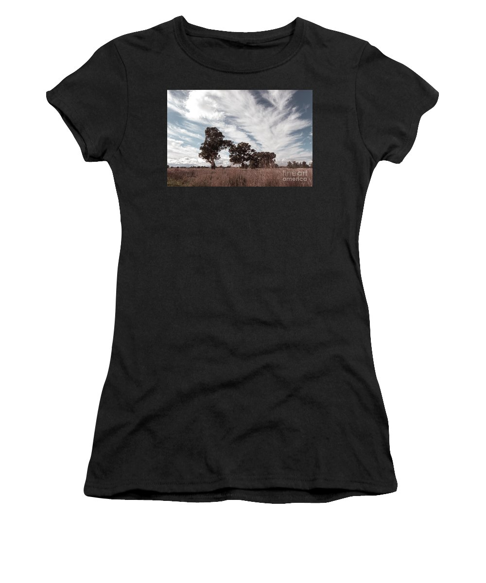 Clouds Women's T-Shirt featuring the photograph Watching Clouds Float Across The Sky by Linda Lees