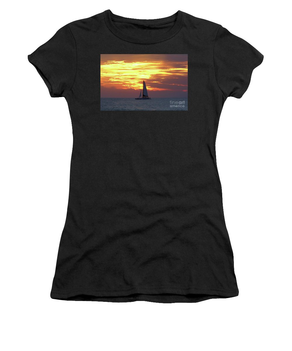 Boat Women's T-Shirt featuring the photograph Watching Fire In The Sky by D Hackett
