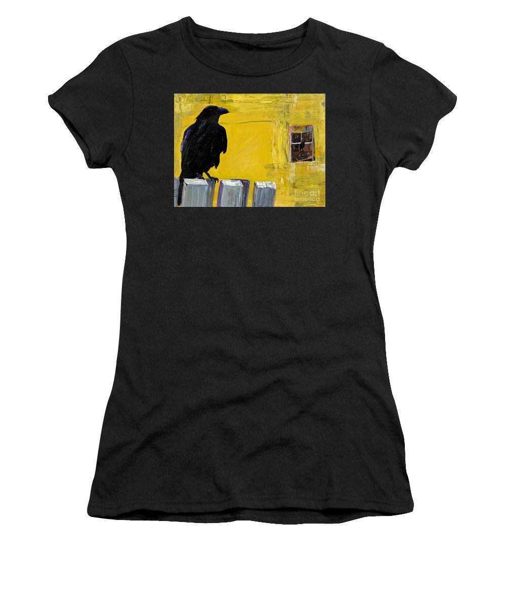 Pat Saunders-white Canvas Prints Women's T-Shirt featuring the painting Watching by Pat Saunders-White