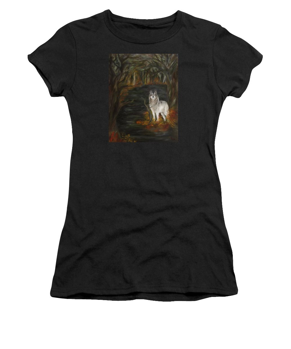 Autumn Women's T-Shirt featuring the painting Water Dark by FT McKinstry