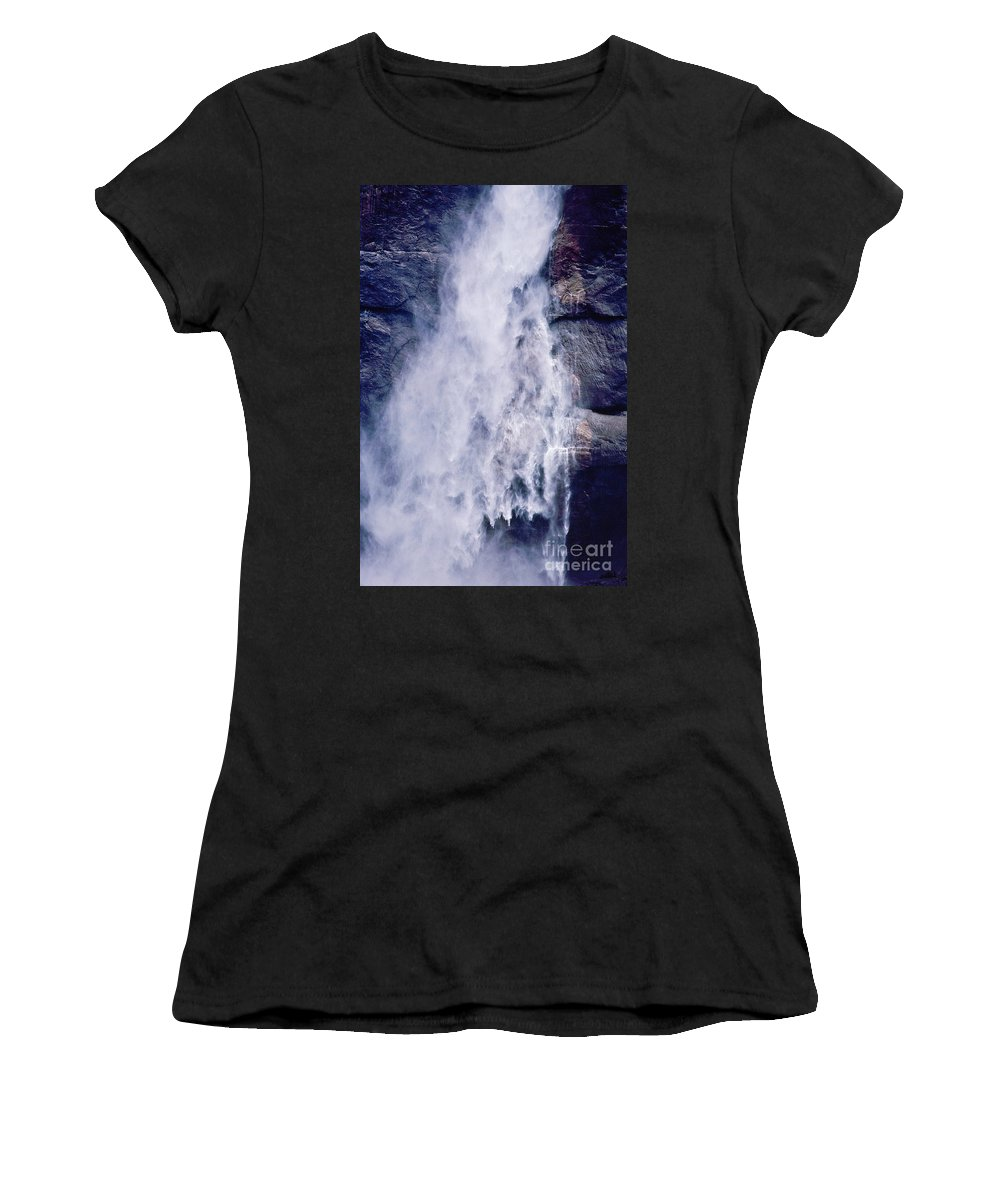 Waterfall Women's T-Shirt (Athletic Fit) featuring the photograph Water Drops by Kathy McClure