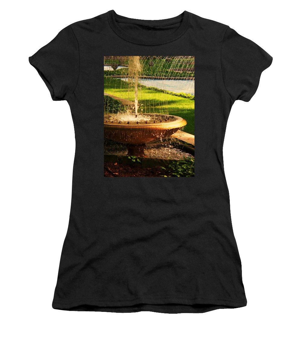 Landscape Women's T-Shirt (Athletic Fit) featuring the photograph Water Fountain Garden by Eric Schiabor