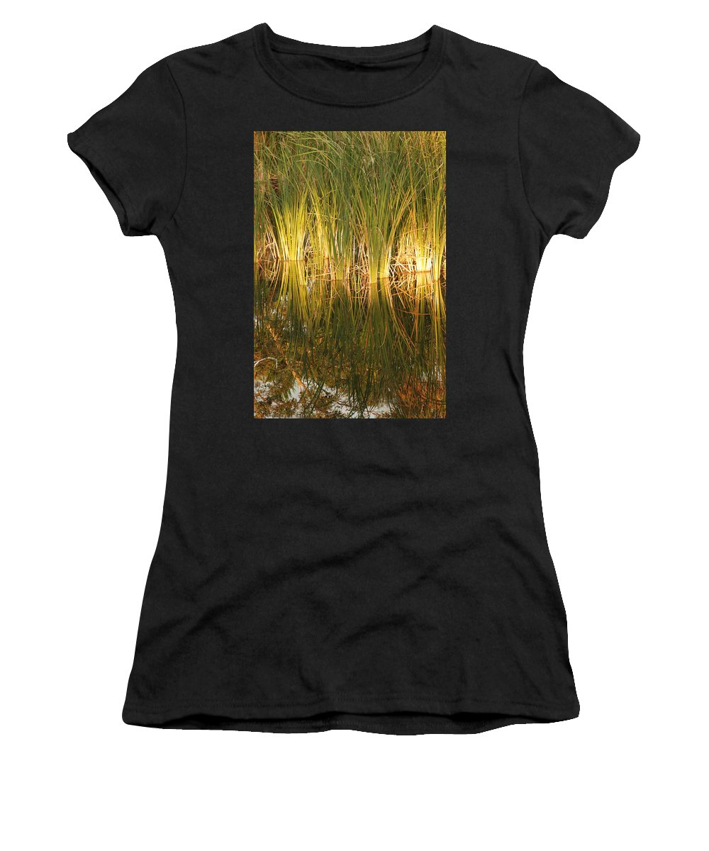 Grass Women's T-Shirt (Athletic Fit) featuring the photograph Water Grass In Sunset by Rob Hans