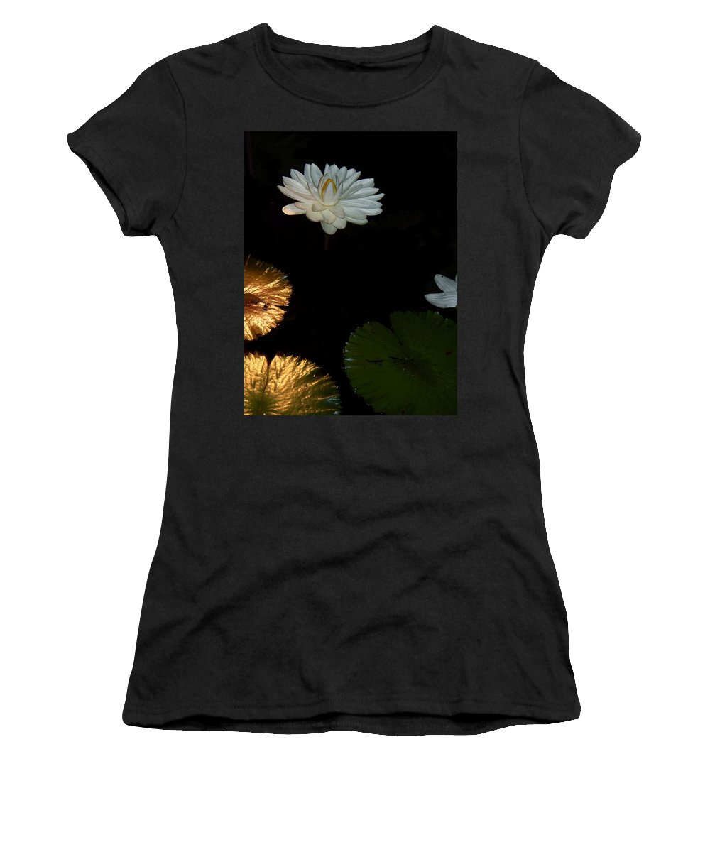 Water Lilies Women's T-Shirt (Athletic Fit) featuring the painting Water Lilies And Pads by Eric Schiabor