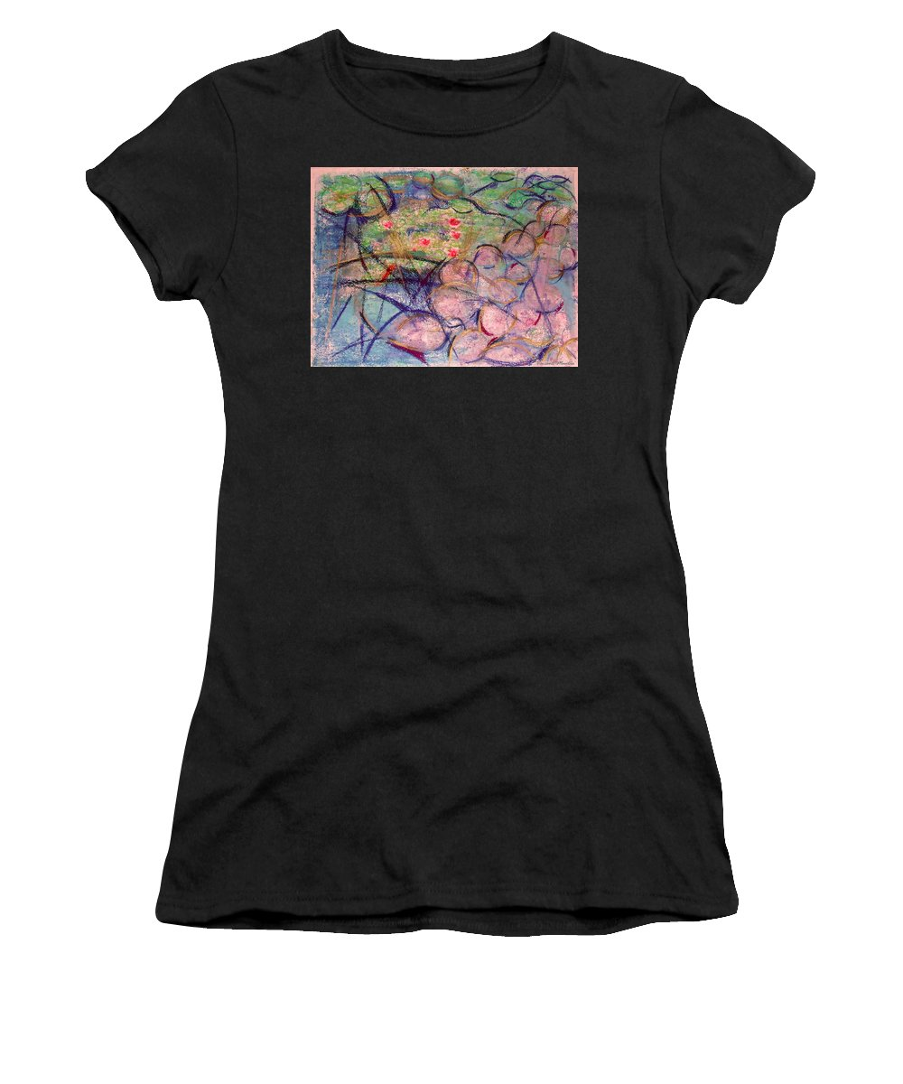 Water Women's T-Shirt (Athletic Fit) featuring the mixed media Water Lily Monotype by Vincent Mantia