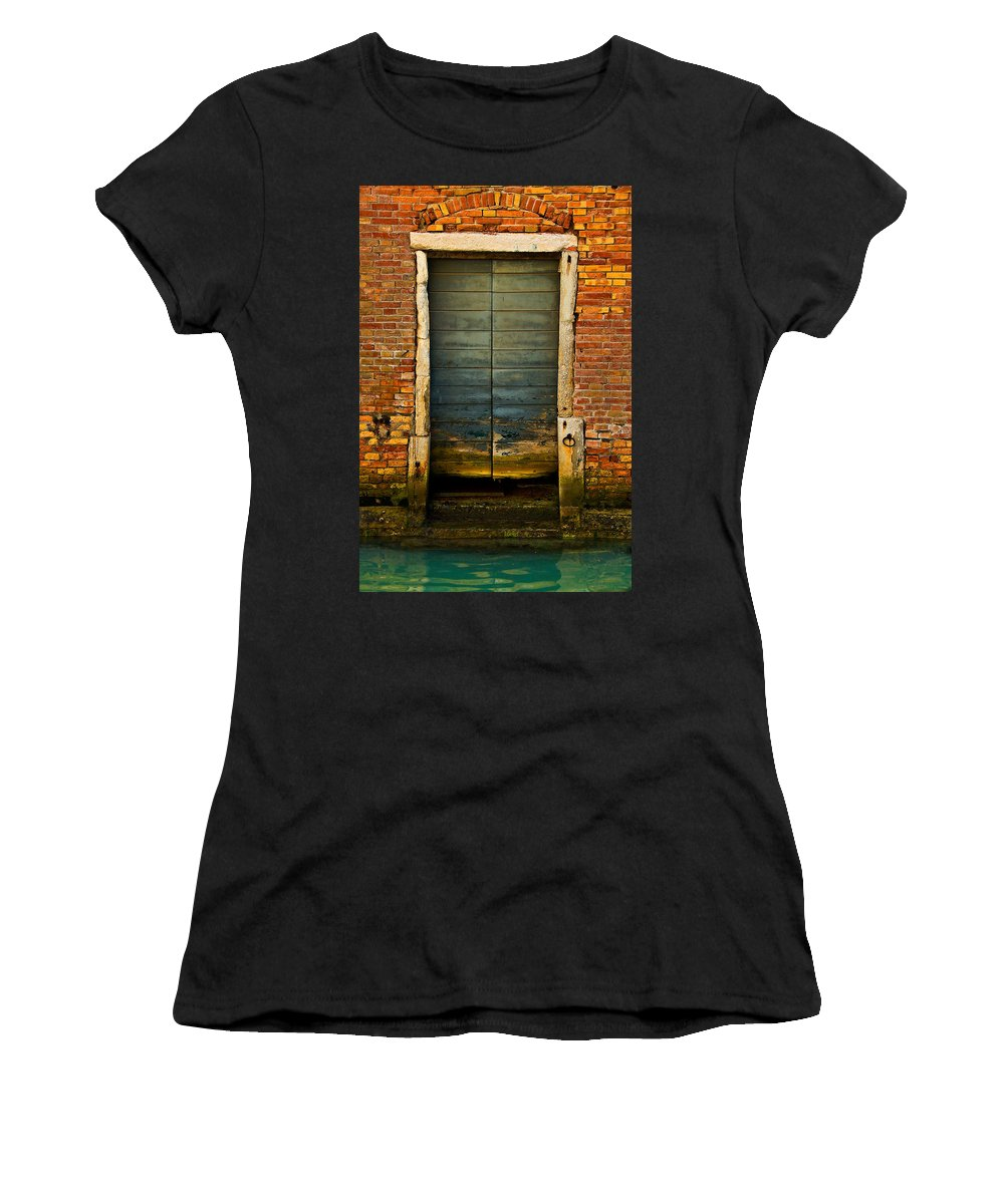 Venice Women's T-Shirt (Athletic Fit) featuring the photograph Water-logged Door by Harry Spitz