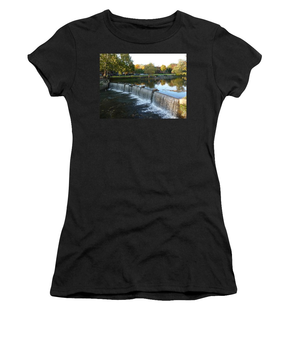 Chagrin Falls Women's T-Shirt (Athletic Fit) featuring the photograph Water Over The Dam by Joel Deutsch