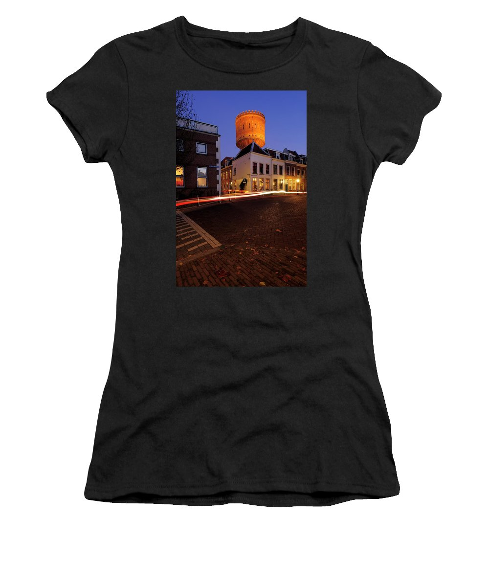 Water Tower Women's T-Shirt featuring the photograph Water Tower Lauwerhof In Utrecht 25 by Merijn Van der Vliet