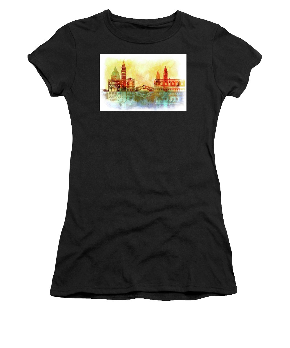 Watercolor Of Venice Women's T-Shirt (Athletic Fit) featuring the painting watercolor of Venice by Dim Dom
