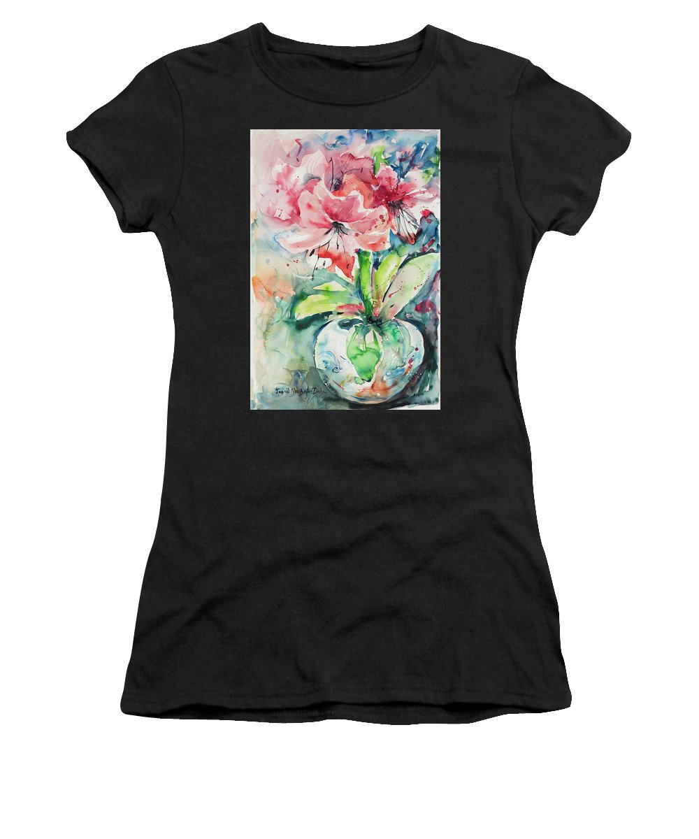 Flowers Women's T-Shirt (Athletic Fit) featuring the painting Watercolor Series 139 by Ingrid Dohm